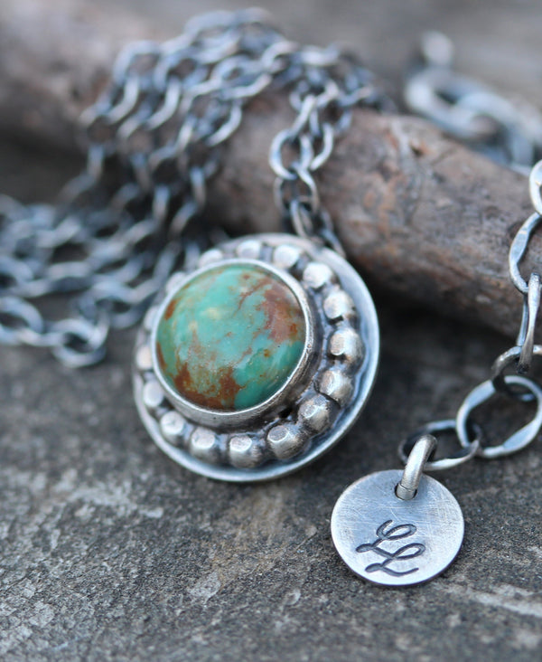 Kingman mine turquoise necklace / sterling silver necklace/ gift for her / coin necklace / boho necklace / jewelry sale / stone necklace