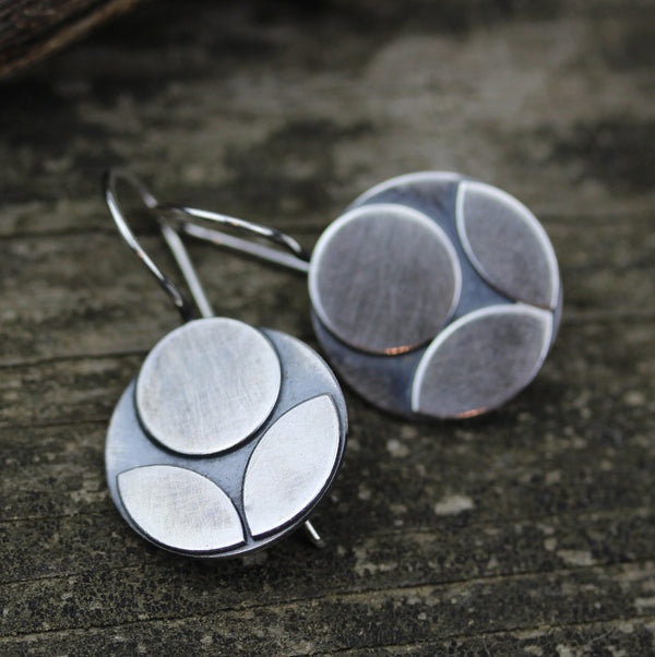 Sterling silver flower dangle earrings / big floral earrings / gift for her / jewelry sale / big silver earrings / bold flower earrings