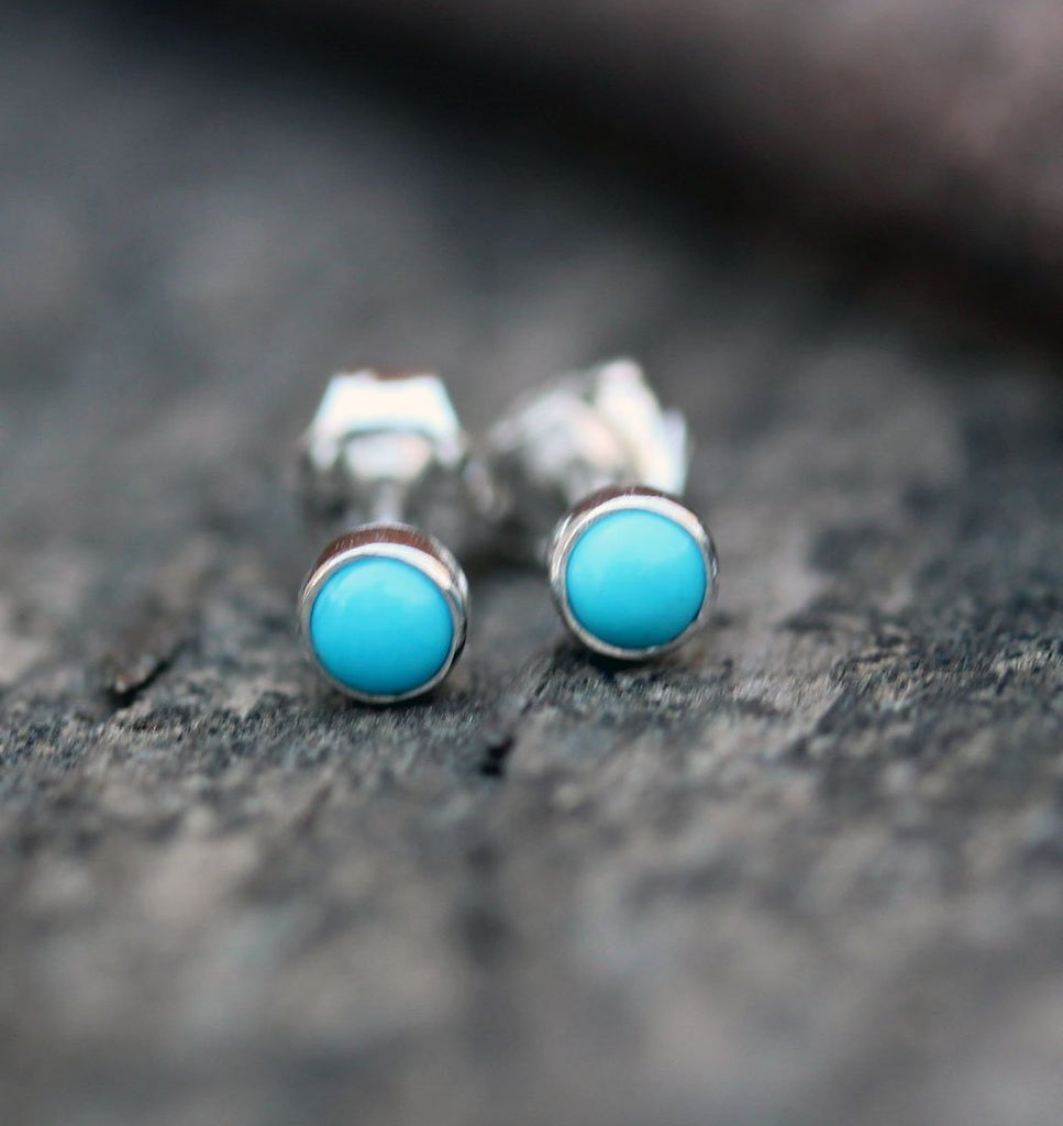 Tiny sleeping beauty turquoise stud earrings / sterling silver earrings / gift for her / jewelry sale / unisex earrings / American turquoise