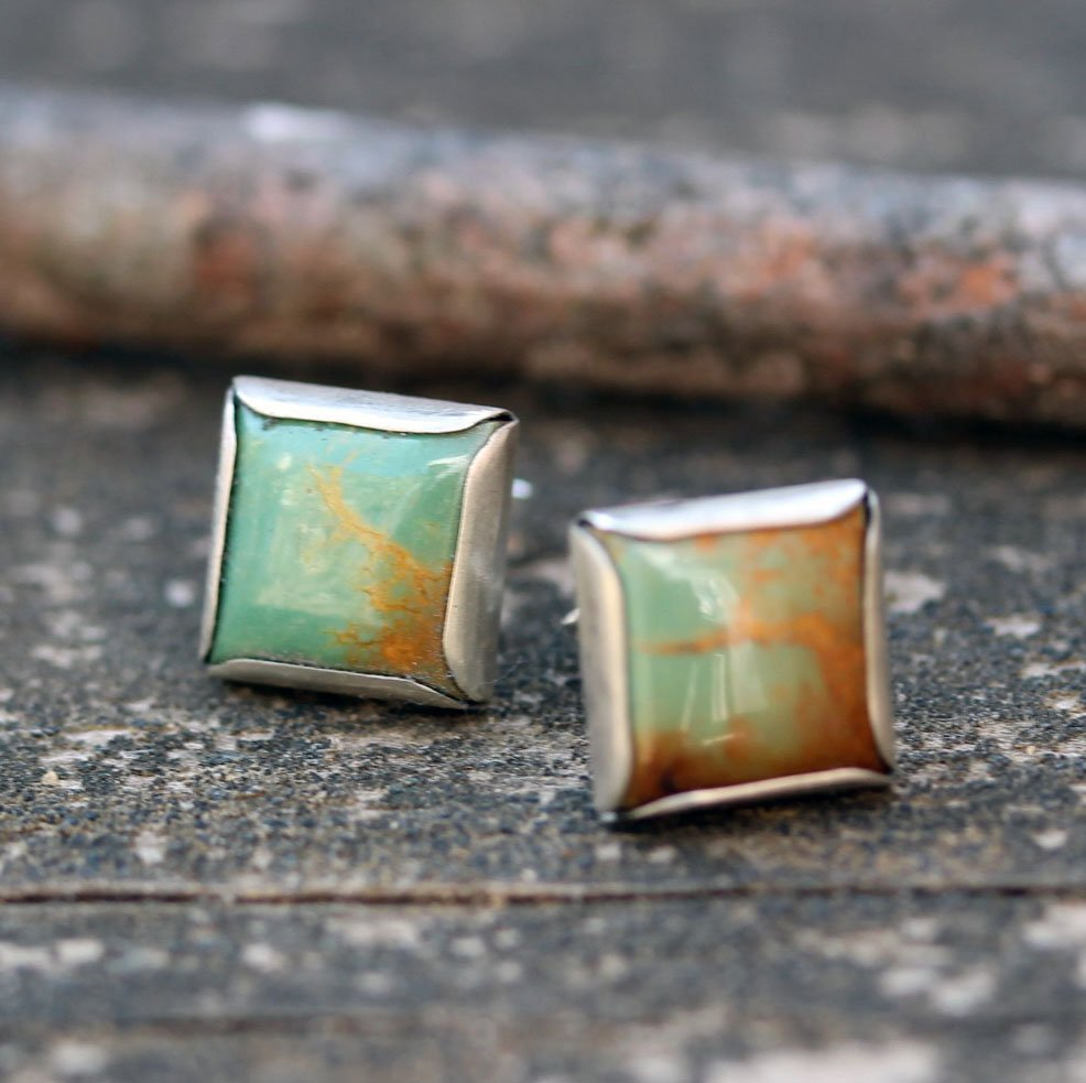 Green Kingman turquoise earrings