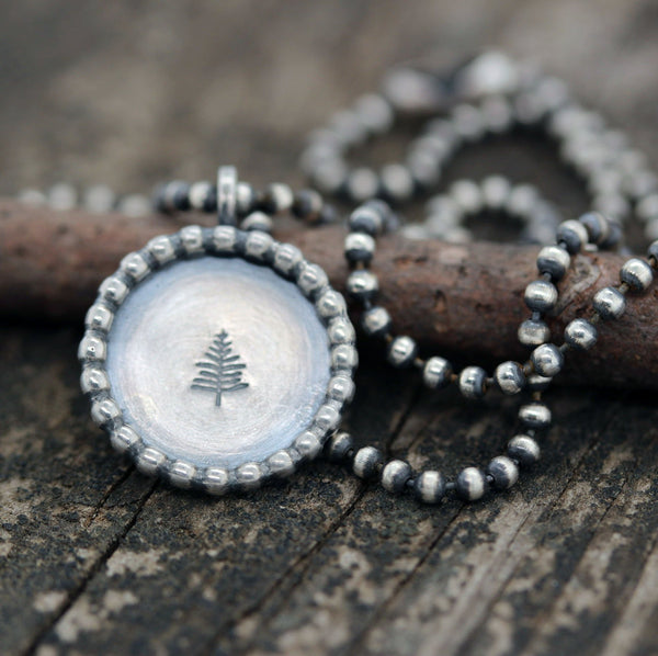 Pine tree necklace / sterling silver necklace / gift for her / jewelry sale / rustic jewelry / stamped necklace / coin / forest / evergreen