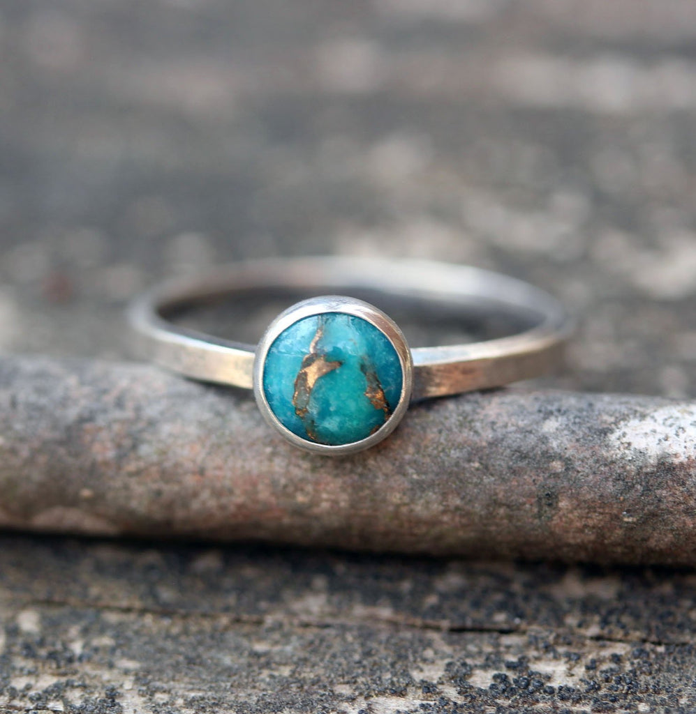 Blue turquoise ring / copper and turquoise ring / sterling silver turquoise ring / gift for her / turquoise stacking ring / boho ring / sale