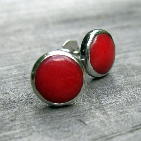 Red coral sterling silver stud earrings / large red earrings / gift for her / jewelry sale / minimalist earrings / simple stud earrings