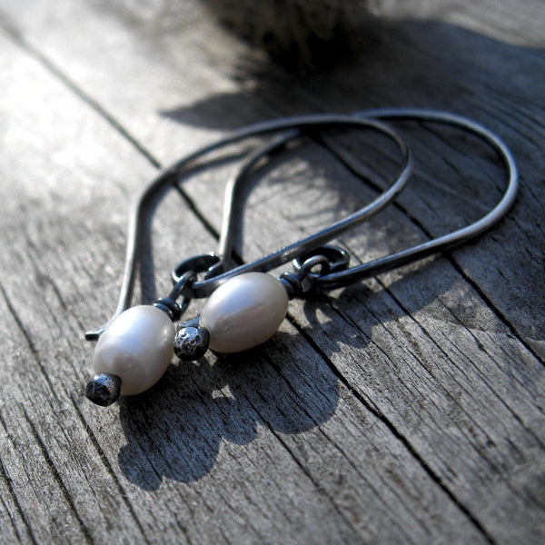 Pearl dangle earrings / sterling silver earrings / gift for her / jewelry sale / white pearls / Freshwater pearls / rustic pearl dangles