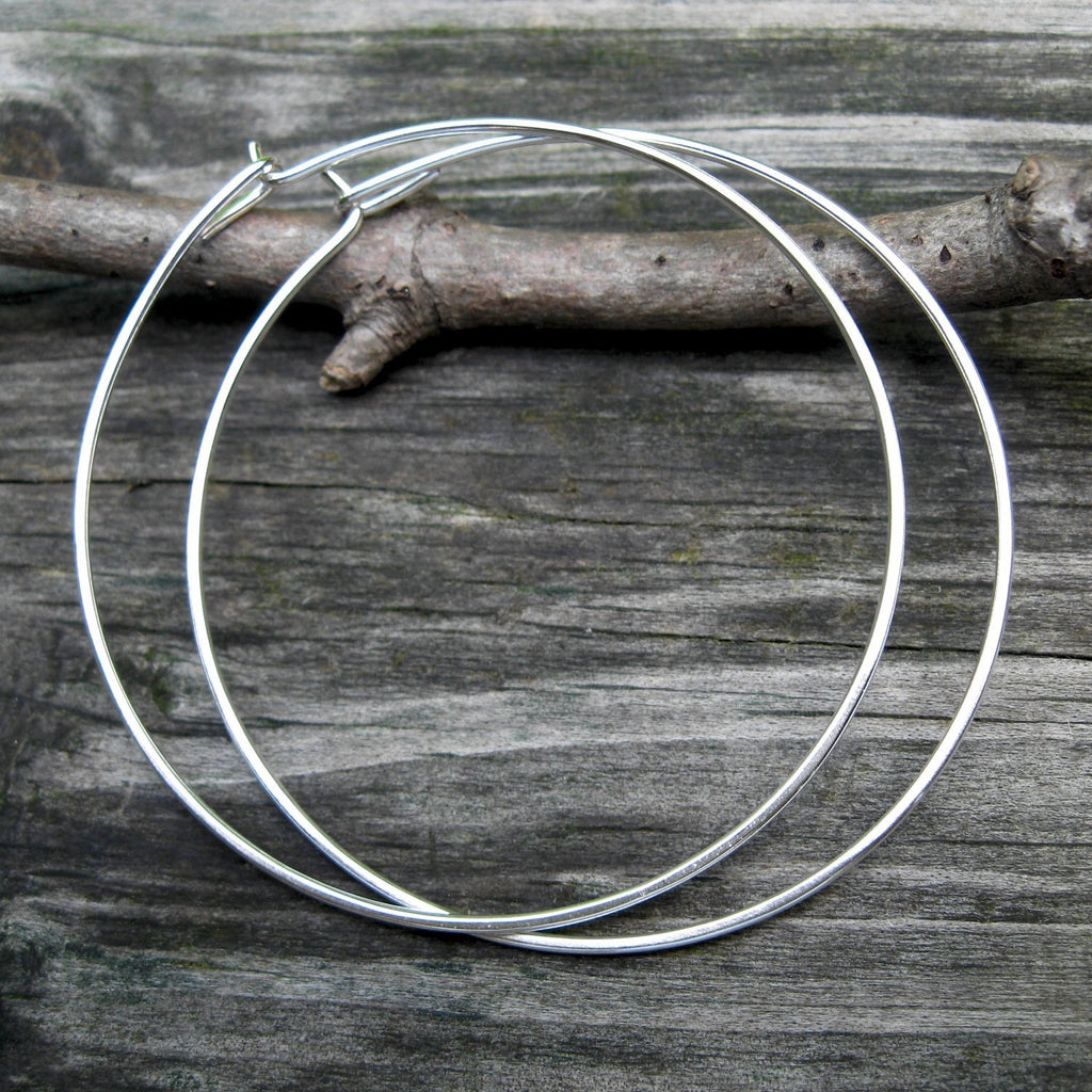 2 inch sterling silver round hoops / sterling silver earrings / gift for her / jewelry sale / minimalist earrings / simple hoops / boho hoop