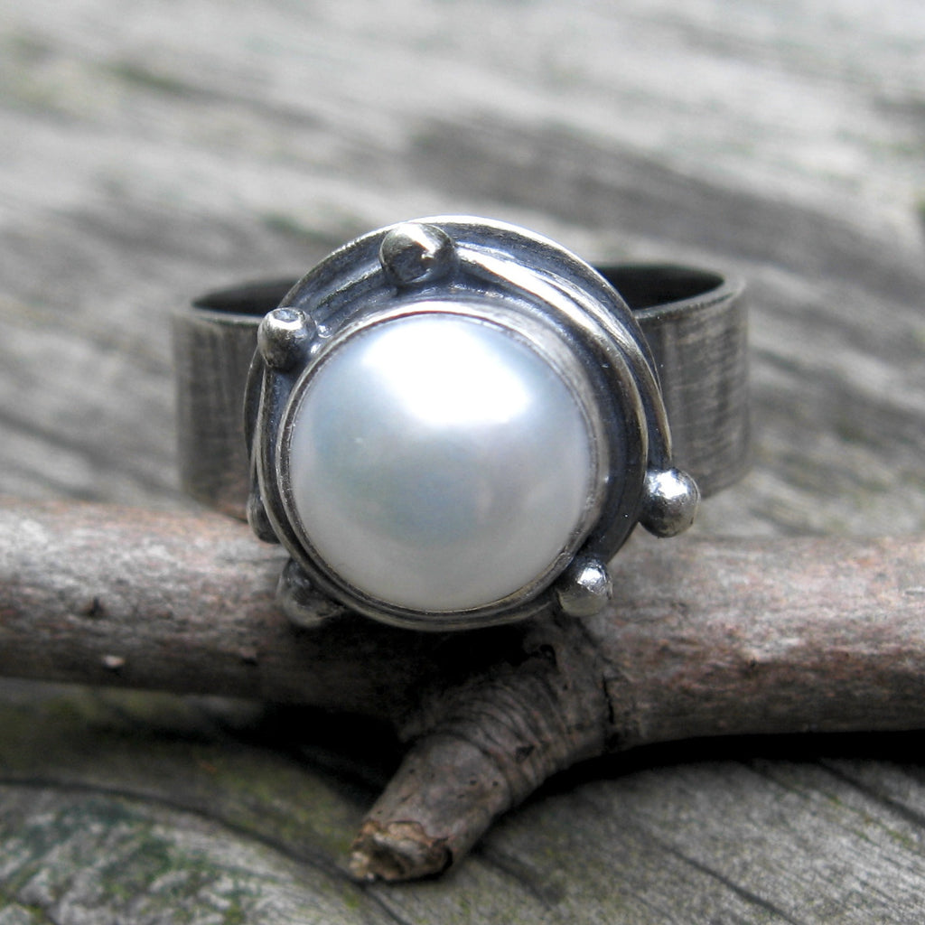 Pearl ring / large pearl ring / sterling silver / pearl statement ring / gift for her / jewelry sale / wide silver band / rustic pearl ring