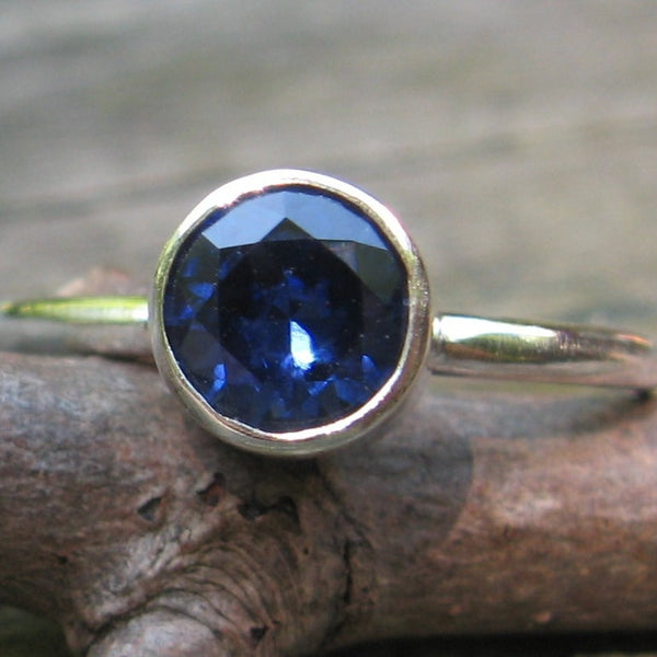 Sapphire ring / sterling silver ring / gift for her / jewelry sale / gemstone ring / September birthstone ring / stackable ring
