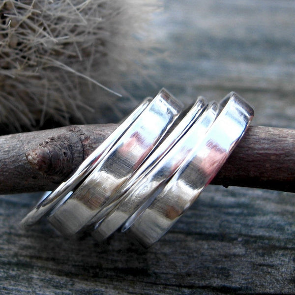 Sterling silver stacking rings / silver band / gift for her / silver ring / sterling ring / sterling band / wide band / boho ring / sale