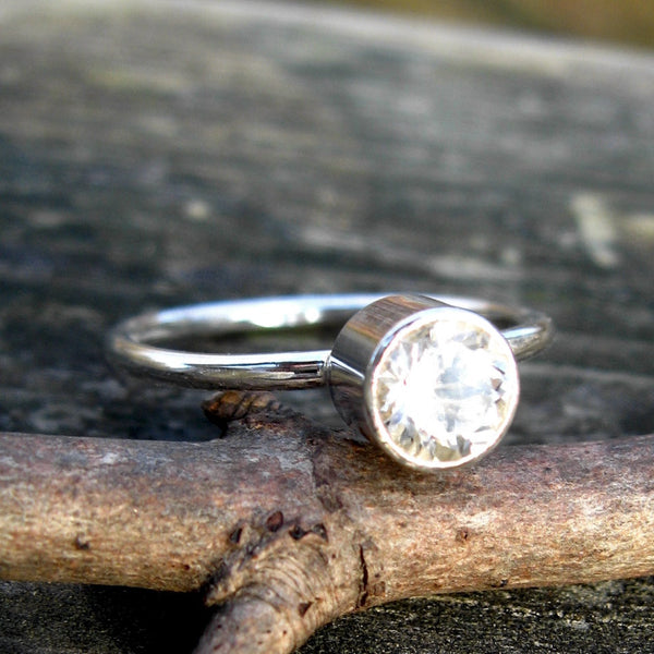 White topaz ring / sterling silver ring / gift for her / jewelry sale / engagement ring / affordable wedding ring / stackable ring