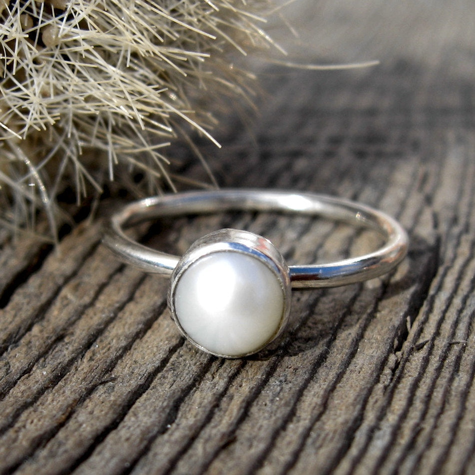 Pearl ring / sterling silver ring / gift for her / white freshwater pearl ring / simple pearl ring / pearl stacking ring / jewelry sale