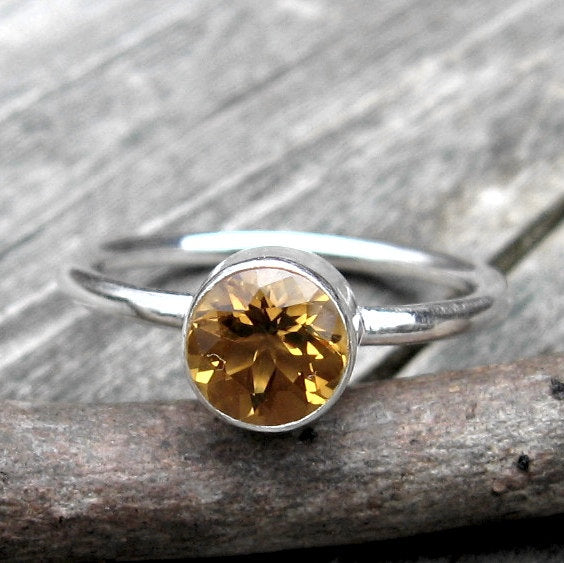 Citrine ring / sterling silver ring / gift for her / November birthstone ring / jewelry sale / stackable ring / yellow stone ring