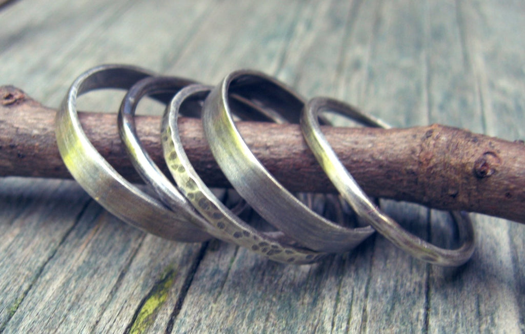 Sterling silver stacking ring bands / textured stacking rings / boho stacking rings / gift for her / jewelry sale / rustic rings / wide band