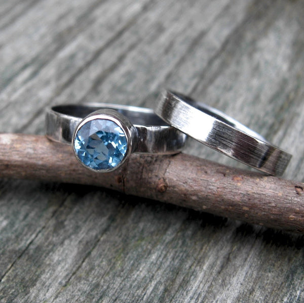 Swiss blue topaz ring set / sterling silver ring set / gift for her / jewelry sale / topaz ring / gemstone ring / silver ring band