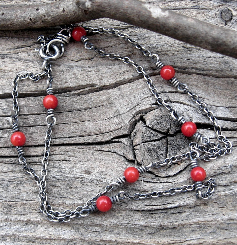 Red coral necklace / sterling silver necklace / red beaded layer necklace / gift for her / boho necklace / tiny necklace /  cable chain