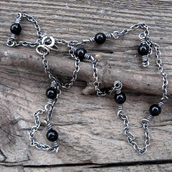 Black onyx necklace / sterling silver layering necklace / gift for her / silver necklace / stone necklace / dainty necklace / sale