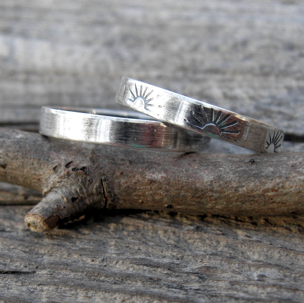 Sterling silver stacking bands / sun stamped band / gift for her / jewelry sale / silver ring set / oxidized silver bands / boho rings