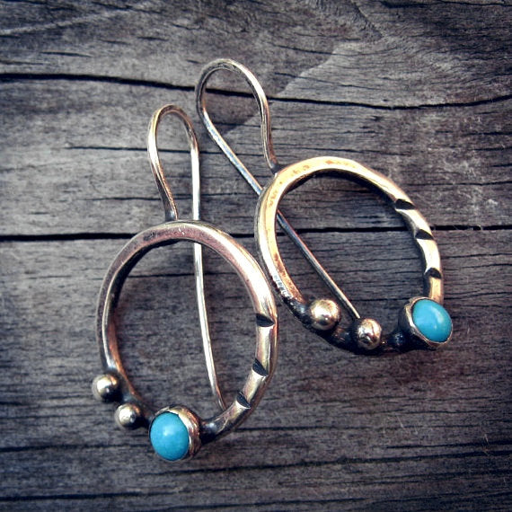 Sleeping beauty turquoise earrings / sterling silver dangle earrings / gift for her / boho earrings / jewelry sale / silver hoops  / rustic