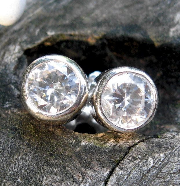 Cubic zirconia stud earrings / Swarovski earrings / diamond studs / gift for her / jewelry sale / April birthstone earrings / simple studs