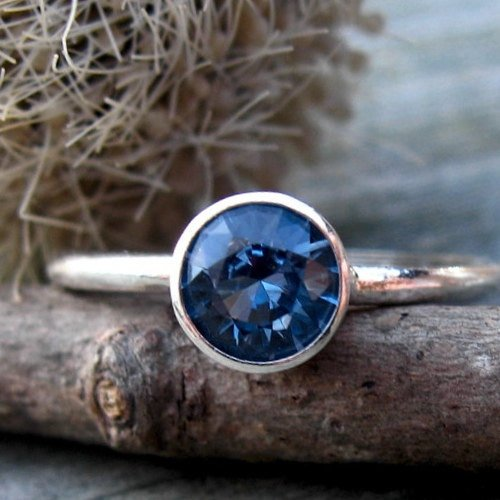 Blue zircon ring / sterling silver ring / gift for her / jewelry sale / December birthstone ring / gemstone ring / blue stone ring