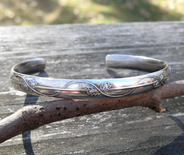Sterling silver cuff bracelet / leaves and vines / gift for her / jewelry sale / wide cuff bracelet /silver stacking bracelet / stamped cuff