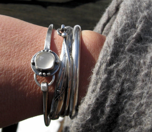 Moonstone bracelet / sterling silver bangle bracelet / gift for her / white moonstone bangle bracelet / boho bracelet / jewelry sale / cuff