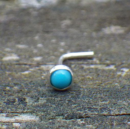 Turquoise nose stud / Sleeping beauty turquoise / silver nose stud / gift for her / sterling nose stud /  nose ring / boho nose ring /sale