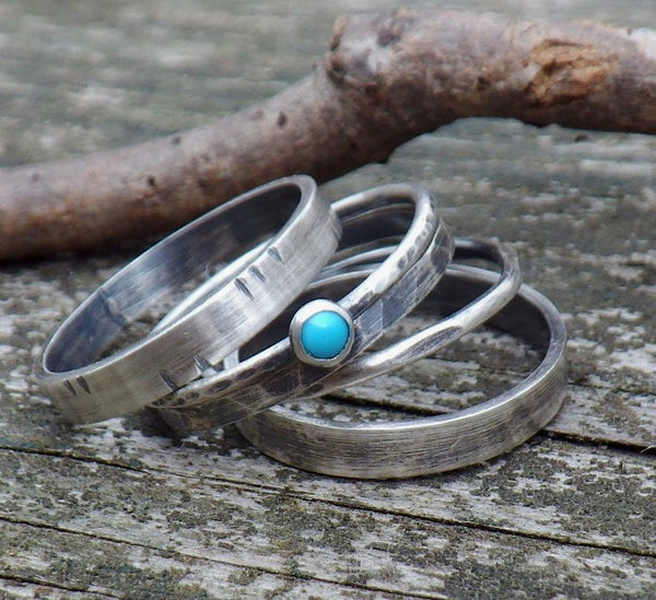 Sleeping Beauty turquoise stacking rings / sterling silver stacking rings / gift for her / jewelry sale / rustic bands / silver ring band