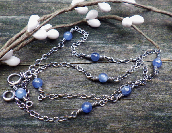Kyanite necklace / layer necklace / sterling silver necklace / gift for her / jewelry sale / boho necklace / tiny necklace / blue necklace