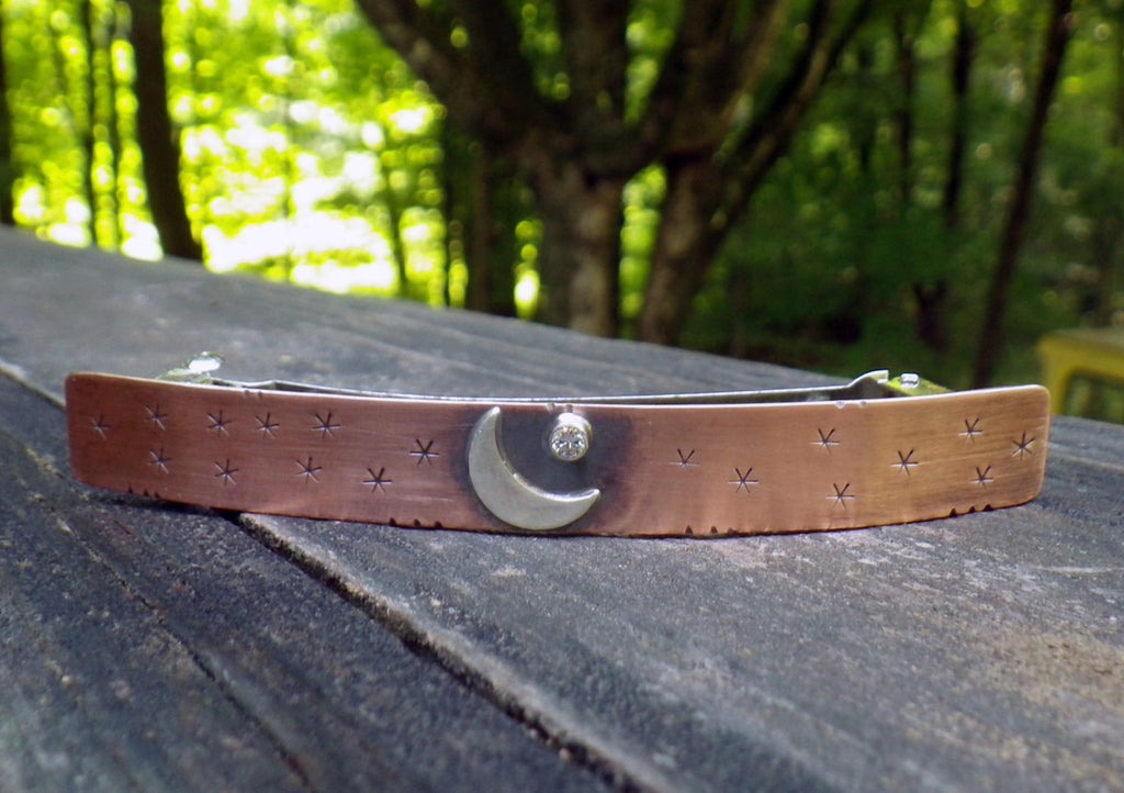 Moon and star barrette / LARGE copper barrette / cubic zirconia barrette / gift for her / French barrette / jewelry sale / moon barrette