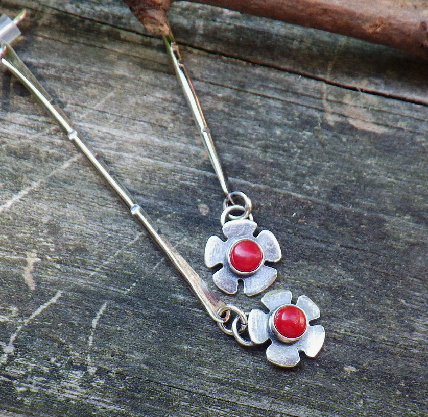 Red coral earrings / long dangle earrings / silver dangle earrings / bar earrings / gift for her / sterling dangles / jewelry sale
