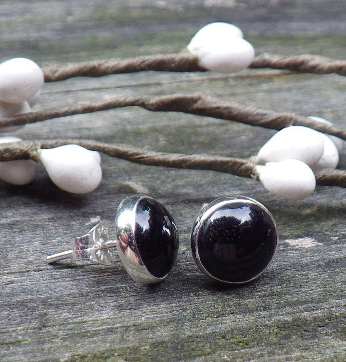 Black onyx stud earrings / sterling silver stud earrings / 8mm onyx earrings / gift for her / jewelry sale / simple earrings / minimalist