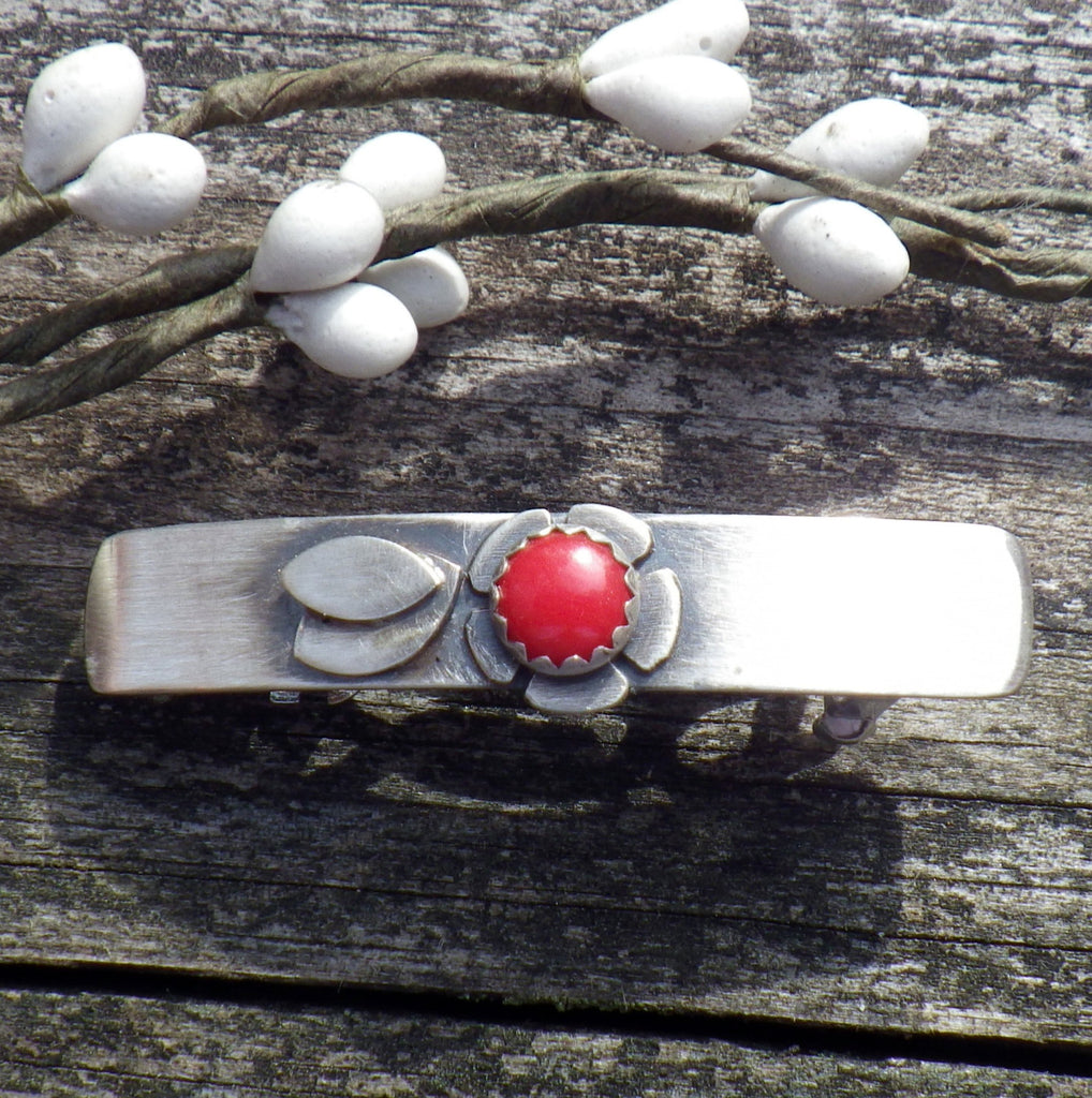 Red coral barrette / SMALL silver barrette / flower barrette / gift for her / French barrette / sterling barrette / bangs barrette / sale