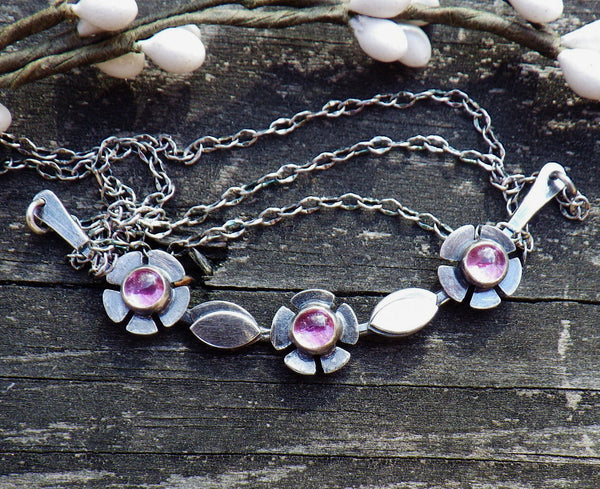 Pink sapphire necklace  / sterling silver necklace / gift for her / gemstone necklace / jewelry sale / flower necklace / silver bib necklace