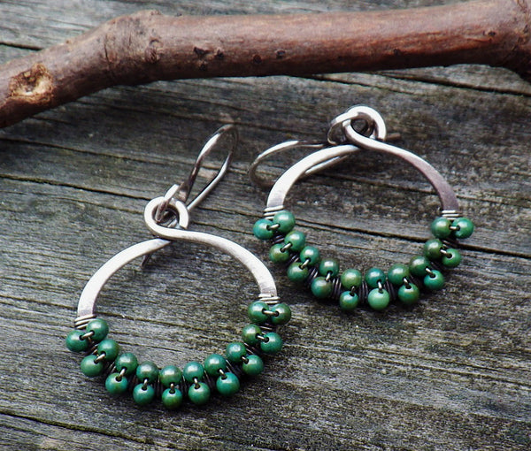 Green turquoise dangle earrings / sterling silver earrings / turquoise beaded earrings / boho earrings / gift for her / jewelry sale