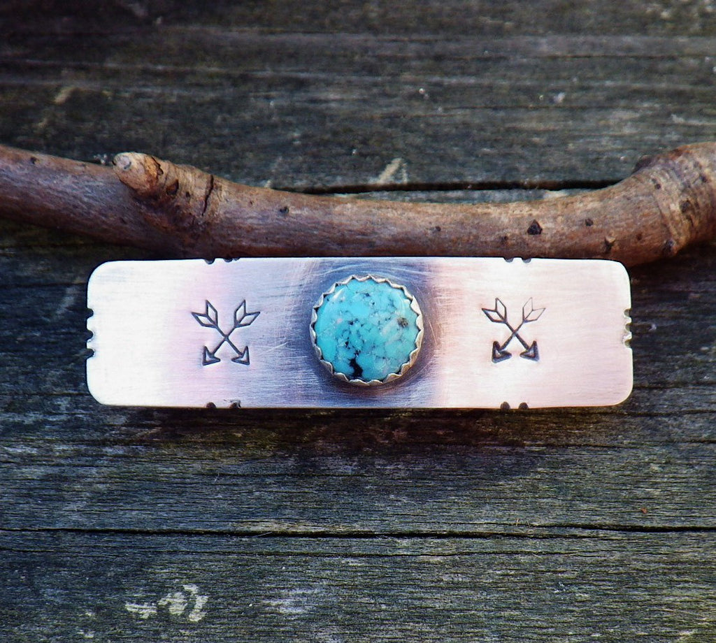 Turquoise barrette / SMALL silver barrette / arrow barrette / gift for her / French barrette / sterling barrette / bangs barrette / sale