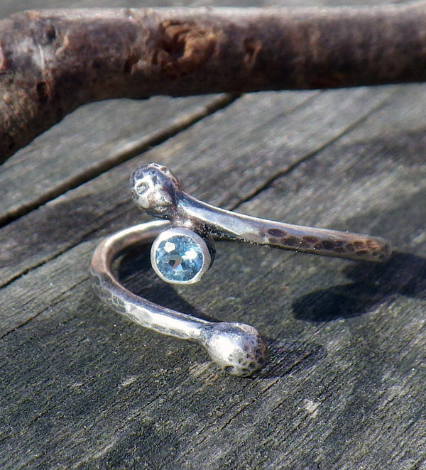 Swiss blue topaz sterling silver branch ring / light blue stone ring / gift for her / jewelry sale / branch ring / rustic ring / boho ring