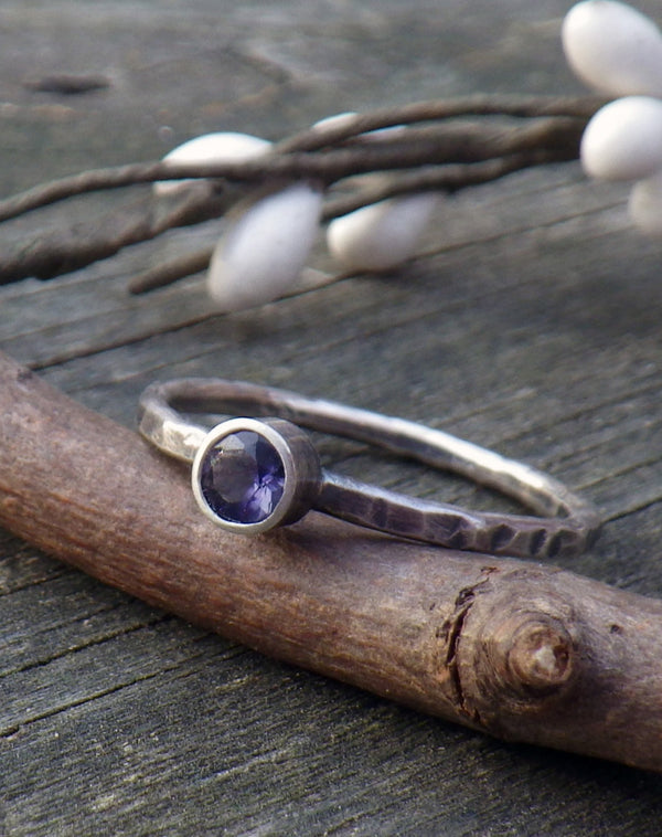 Iolite ring / purple gemstone ring / gift for her / sterling silver iolite ring / rustic ring / gemstone stacking ring / oxidized ring