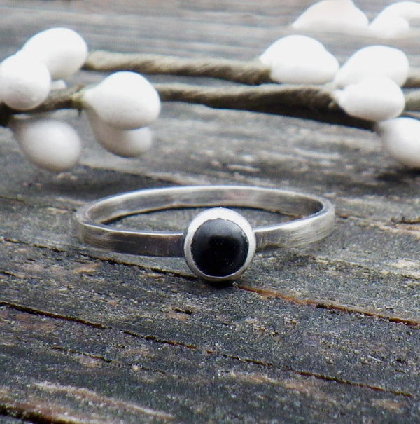 Black onyx ring / sterling silver ring / gift for her / jewelry sale / stackable ring / boho ring / oxidized ring / tiny ring / dainty ring