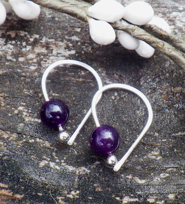 Amethyst earrings / sterling silver earrings / gift for her / February birthstone / silver dangle earrings / tiny earrings / jewelry sale