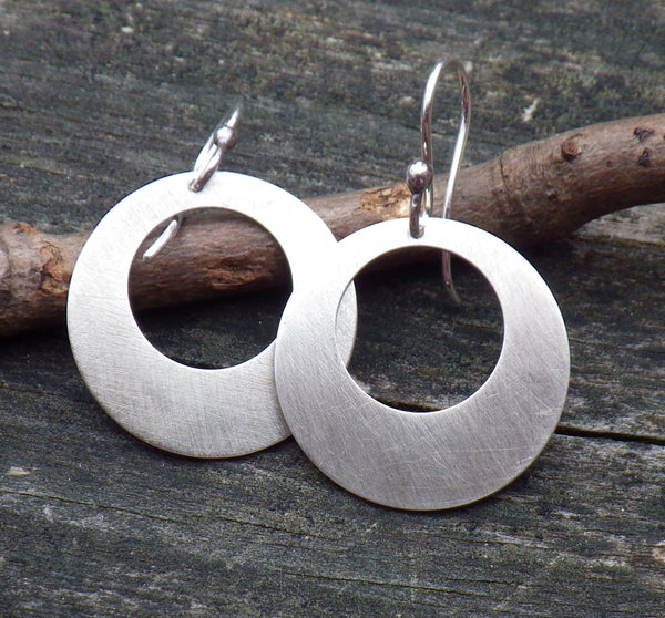 Sterling silver circle dangle earrings / rustic dangle earrings / gift for her / jewelry sale / oxidized silver earrings / boho earrings