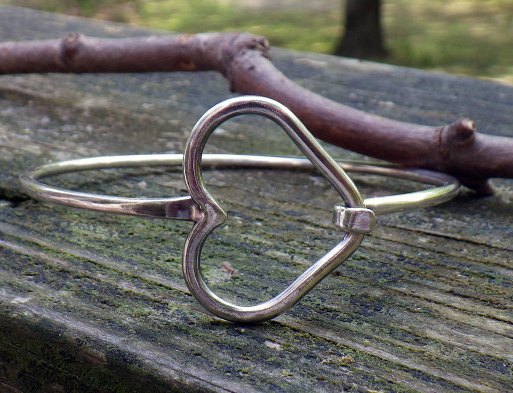 Heart bracelet / sterling silver heart bangle bracelet / gift for her / jewelry sale / heart jewelry / silver bracelet / boho bracelet