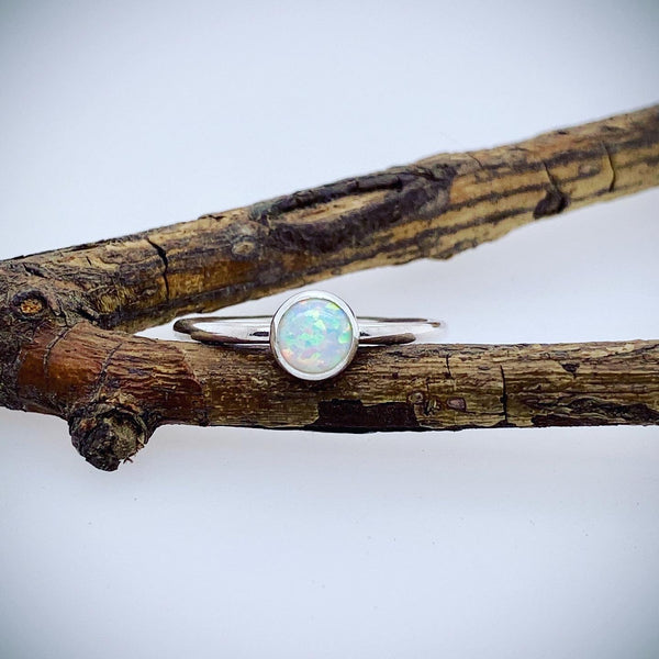 Opal ring / sterling silver opal ring / gift for her / silver ring / October birthstone / opal stacking ring / jewelry sale / dainty ring