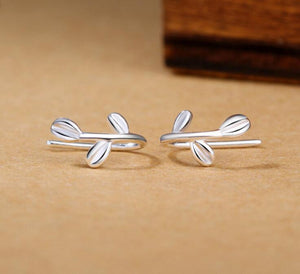1 Pair Fashion Silver Color Cute Tiny Leaf Leaves Stud Earrings For Scho Girls Daughter's Gift 925 Piercing Minimalist Jewelry