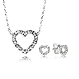 100% 925 Sterling Silver LOVING HEARTS NECKLACE AND EARRING GIFT SET Original Clear CZ Fit Charms Diy Jewelry