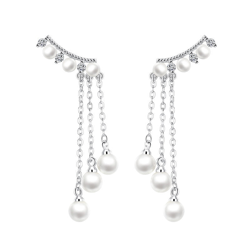 100% 925 sterling silver fashion imitation pearl crystal ladies`tassels stud earrings jewelry wholesale Anti allergy women
