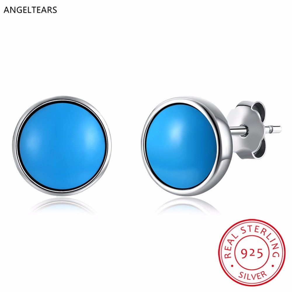100% Real 925 Sterling silver round turquoise stud earrings women fashion party Fine Jewelry birthd gift drop shipping brinco