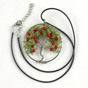 100-Unique 1 Pcs Natural Peridot Stone Tree Of Life Chakra Winding Pendant Leather Chain Necklace Charm Jewelry