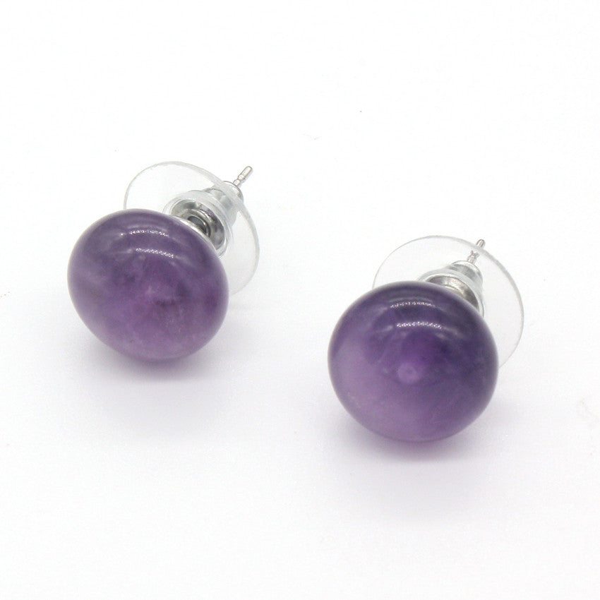 100-Unique Trendy 1 Pair Silver Plated Bread Shape Natural Purple Amethysts Stud Earrings Elegant Women's Earring