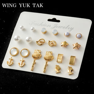 12 Pairs/Set Earring Trendy Gold Color Star Simulated Pearl Shell Statement Stud Earrings Set For Women 2018 New Arrival Jewelry