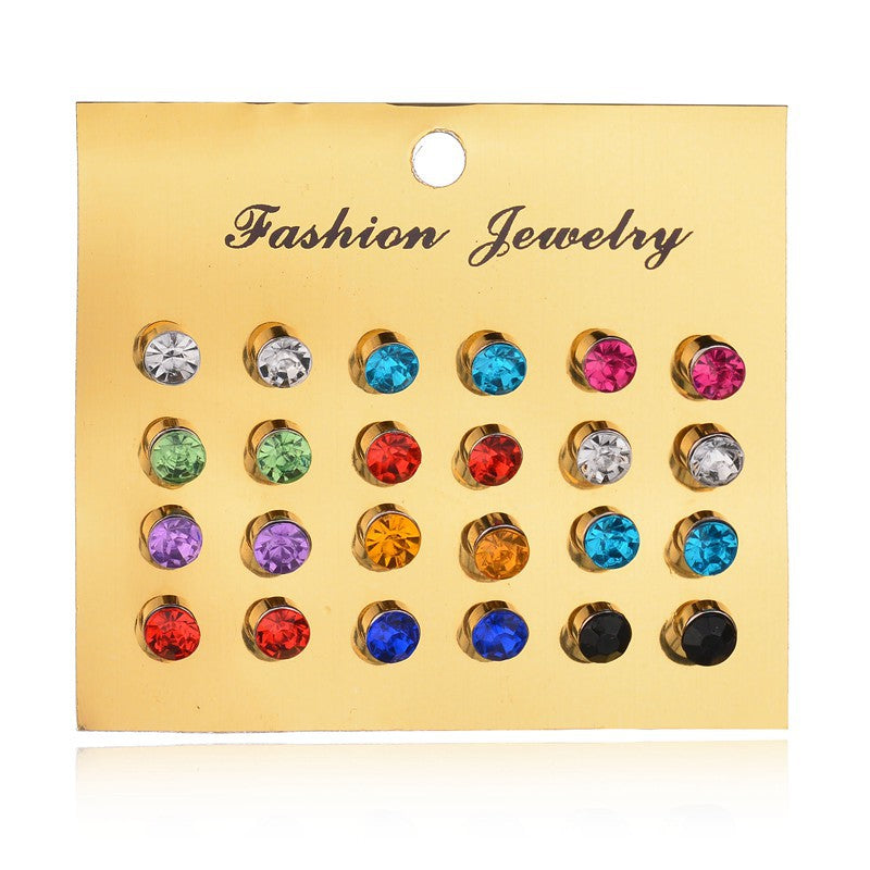 12 pairs/set super value fashion colorful shining Crystal elegant temperament Stud Earring Set Women